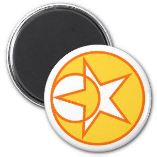 Moon star five-serrate moon star Pentagon pentacle 2 Inch Round Magnet