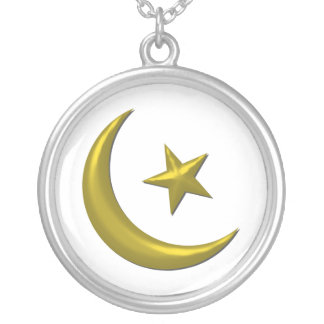 Moon & Star Round Pendant Necklace