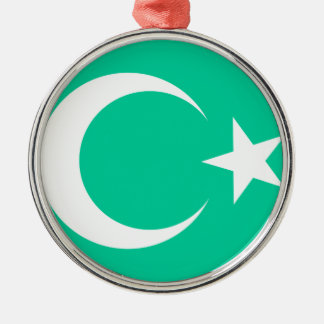 Moon & Star Round Metal Christmas Ornament