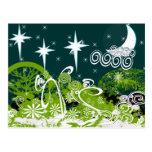 Moon Star Tree Paint Splat Postcard