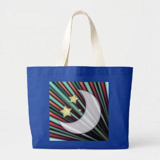 Moon, Stars, & Rising Sun Large Tote Bag