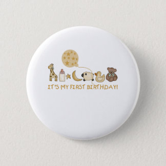 Moon,Stars, and Animals First Birthday Button