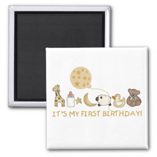 Moon,Stars, and Animals First Birthday Magnet