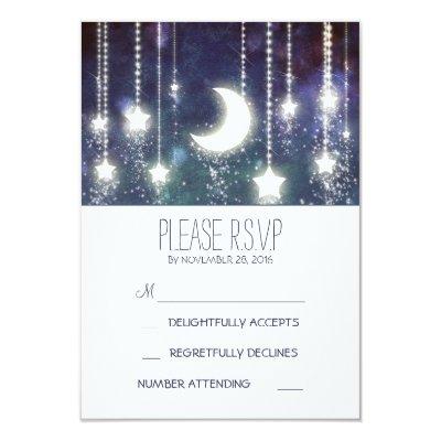 Moon Stars String Lights Summer Wedding Card
