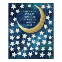 Moon & Stars Baby Shower Guest Book Alternative
