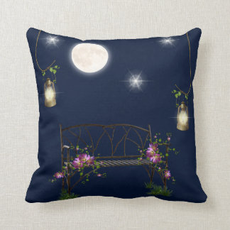 Moon stars bench lantern flowers navy blue white throw pillow