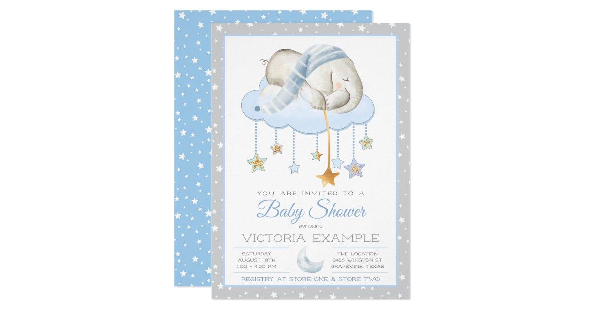 Moon Stars Boy Elephant Baby Shower Invitations Zazzle Com