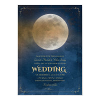 Moon Stars Celestial Navy Blue Wedding Invitation