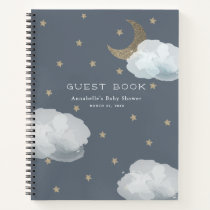 Moon, Stars & Clouds Navy Baby Shower Guest Book
