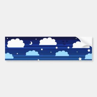 Moon Stars Clouds Stripes Bumper Sticker