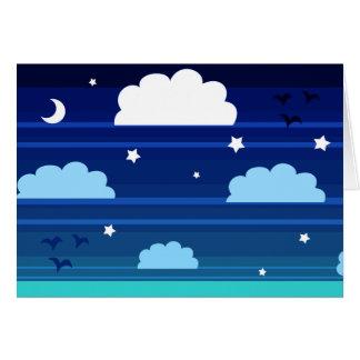 Moon Stars Clouds Stripes Card