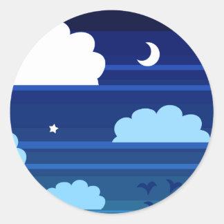 Moon Stars Clouds Stripes Classic Round Sticker