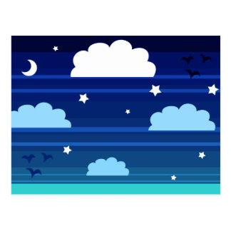 Moon Stars Clouds Stripes Postcard