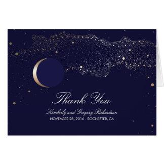 Moon Stars Enchanted Night Navy Wedding Thank You Card