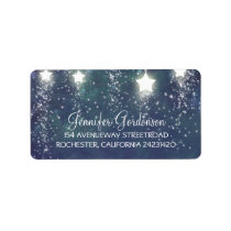 Moon Stars Glitter Navy Wedding Label