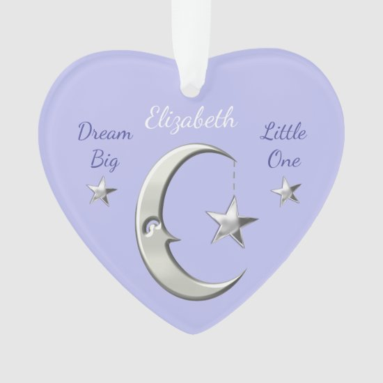 Moon & Stars Lilac Nursery Decor Heart Ornament