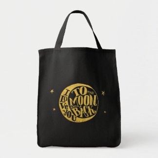 Moon & Stars -  Love Saying on Gold And Black Tote Bag
