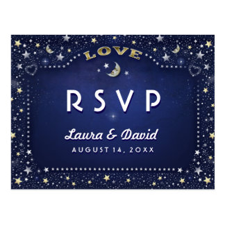 Moon & Stars Navy Blue Gold White Matching RSVP Postcard