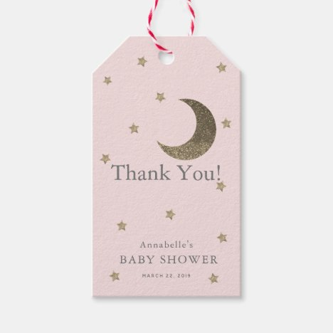 Moon & Stars Pink Baby Shower Thank You GIft Tag