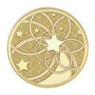 Moon Stars Rings Glitter Round Gold Lapel Pin
