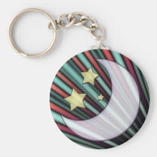 Moon, Stars, & Rising Sun Keychain