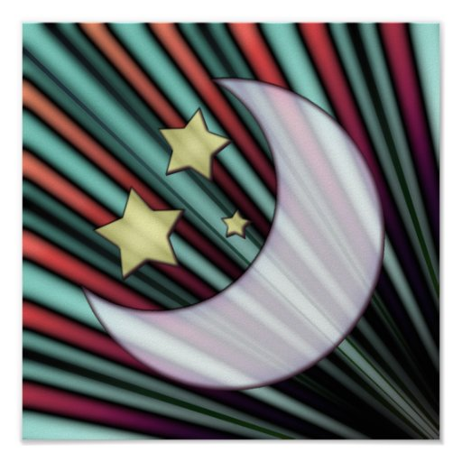 Moon, Stars, & Rising Sun Poster