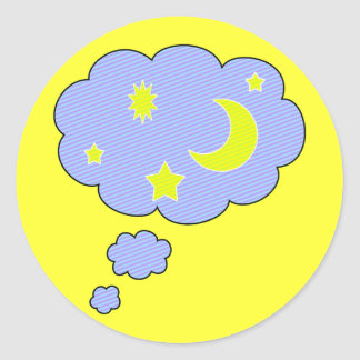 moon stars round stickers