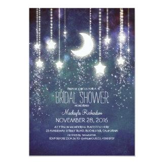 Moon Stars & String Lights Bridal Shower 5x7 Paper Invitation Card