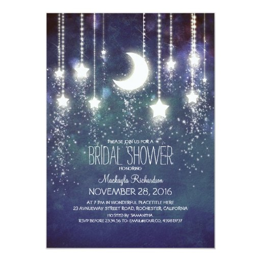 String Of Blinking Lights Paper Moon : Moon Stars & String Lights Bridal Shower 5x7 Paper Invitation Card Zazzle
