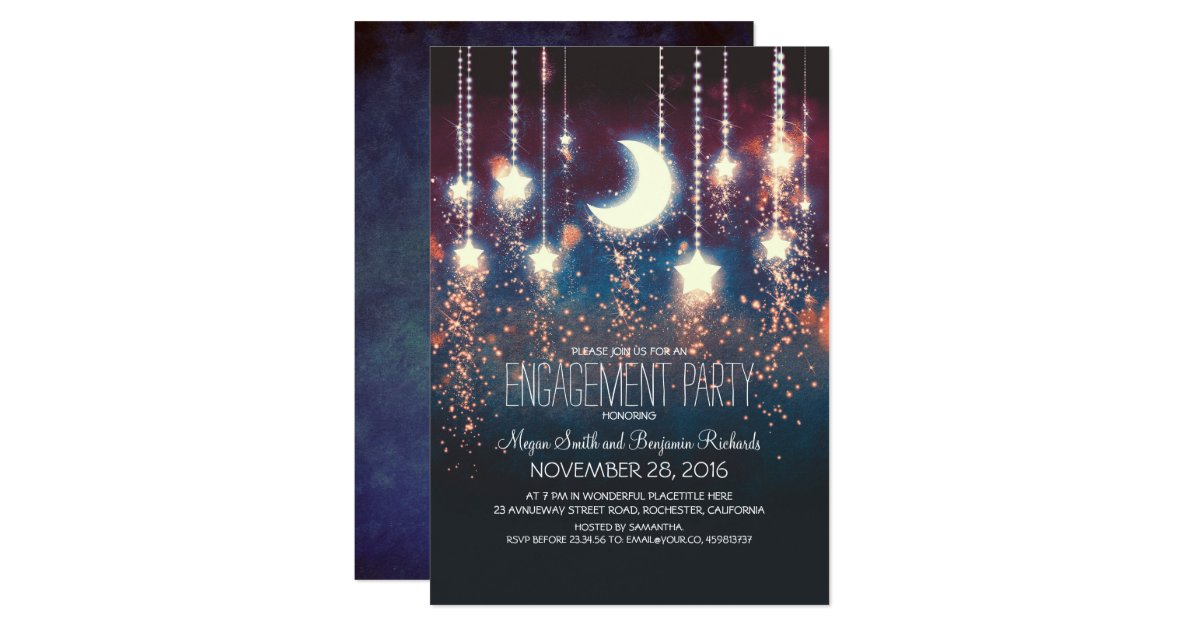 Zazzle String Lights : Moon Stars & String Lights Engagement Party Card Zazzle