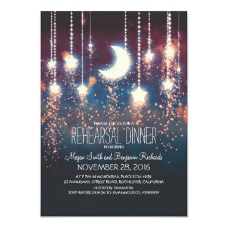Moon Stars & String Lights Rehearsal Dinner Card