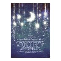 Moon Stars & String Lights Vintage Wedding Invitation
