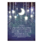 "Moon Stars & String Lights Wedding Invitations 5"" X 7"" Invitation Card"