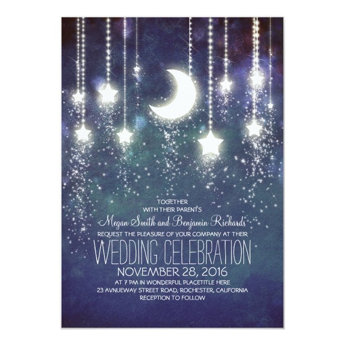Together With Their Parents Wedding Invitation: Moon Stars & String Lights Wedding Invitations