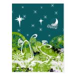 Moon Stars Swirl Paint Splat Postcard