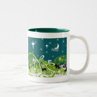 Moon Stars Swirl Paint Splat Two-Tone Coffee Mug