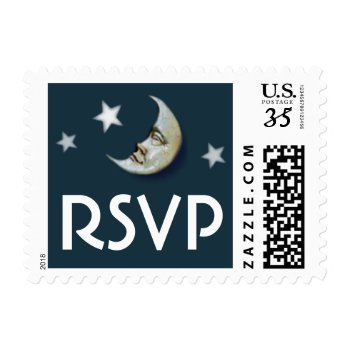 Moon & Stars Teal Gold White Rsvp Postage by juliea2010 at Zazzle