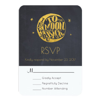 Moon & Stars With Romantic Saying Wedding RSVP Card