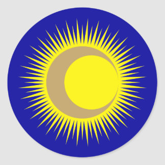 Moon suns sun moon classic round sticker