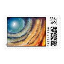 Moon Sunset Postage Stamp