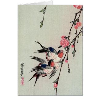 Moon Swallows and Peach Blossoms Ando Hiroshige Greeting Card