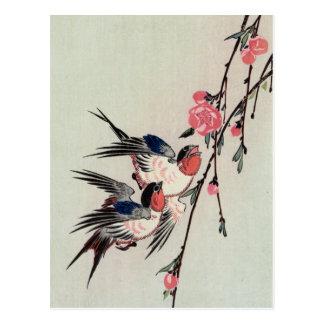 Moon Swallows and Peach Blossoms Ando Hiroshige Post Card