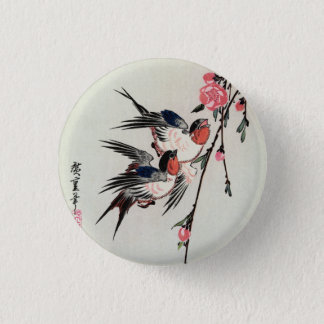 Moon, Swallows and Peach Blossoms Button