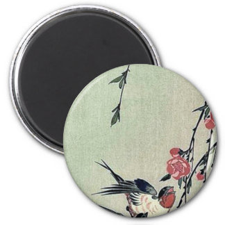 Moon swallows and peach blossoms by Ando Hiroshige Magnets