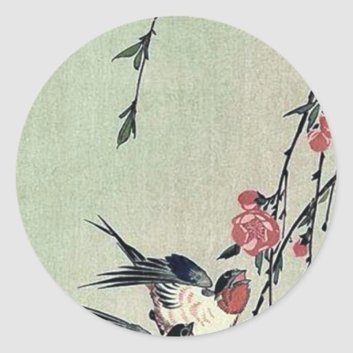 Moon,swallows and peach blossoms by Ando,Hiroshige Classic Round Sticker