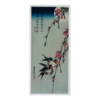 Moon, Swallows, and Peach Blossoms by Hiroshige Poster