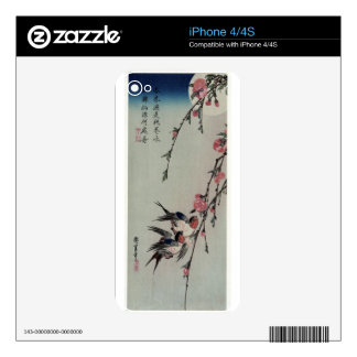 Moon, Swallows and Peach Blossoms by Hiroshige Skins For iPhone 4S