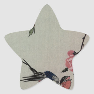Moon, Swallows and Peach Blossoms by Hiroshige Star Sticker