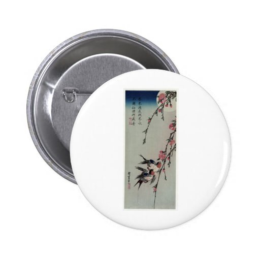 Moon, Swallows, and Peach Blossoms circa 1850 Pinback Button