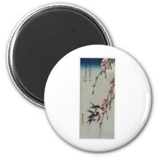 Moon Swallows and Peach Blossoms circa 1850 Magnets